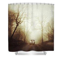 Vintage Car On Foggy Rural Road Shower Curtain by Jill Battaglia