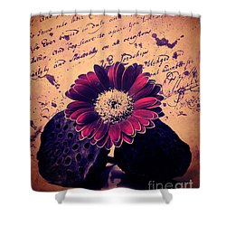 Vintage Passion Letters Shower Curtain by Angela Doelling AD DESIGN Photo and PhotoArt