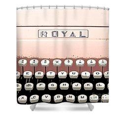 Vintage Royal Typewriter Shower Curtain by Glennis Siverson