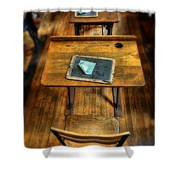 Vintage School Desks Shower Curtain by Jill Battaglia