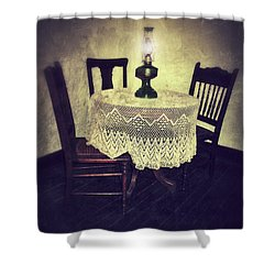Vintage Table And Chairs By Oil Lamp Light Shower Curtain by Jill Battaglia