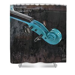Violinelle - Turquoise 05a2 Shower Curtain by Variance Collections