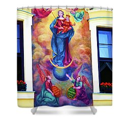 Virgin Mary Mural Shower Curtain by Mariola Bitner