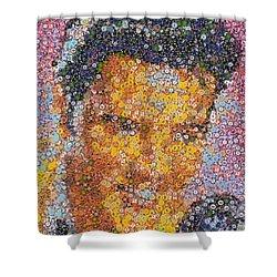 Viva Las Vegas Elvis Poker Chip Mosaic Shower Curtain by Paul Van Scott
