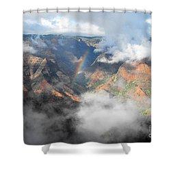 Waimea Canyon Rainbow Shower Curtain by Rebecca Margraf