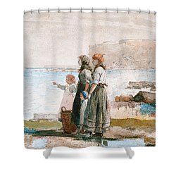 Waiting For The Return Of The Fishing Fleets Shower Curtain by Winslow Homer