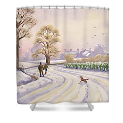 Walk In The Snow Shower Curtain by Lavinia Hamer