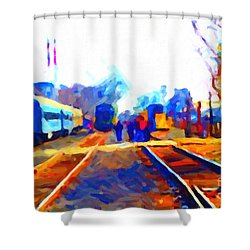 Walking On The Train Tracks In Old Sacramento California . Painterly . Vision 2 Shower Curtain by Wingsdomain Art and Photography