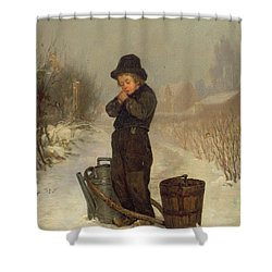 Warming His Hands Shower Curtain by Henry Bacon