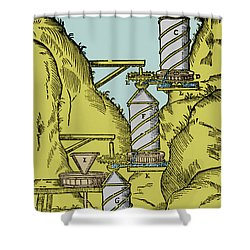 Watermill Reversed Archimedean Screw Shower Curtain by Science Source