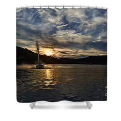 Wave Runner On Lake Evening Shower Curtain by Dan Friend
