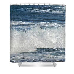 Waves Breaking 7964 Shower Curtain by Michael Peychich