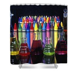 Wax Crayons And Measuring Flasks Shower Curtain by David Chapman