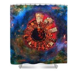Wee Manhattan Planet - Artist Rendition Shower Curtain by Nikki Marie Smith