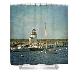 Welcome To Nantucket Shower Curtain by Kim Hojnacki