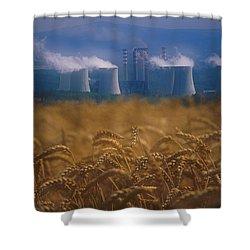 Wheat Fields And Coal Burning Power Shower Curtain by David Nunuk