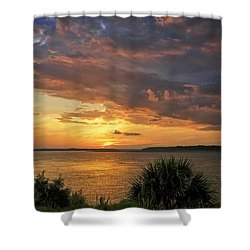 Where  The River Turns Shower Curtain by Phill Doherty