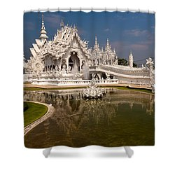White Temple Shower Curtain by Adrian Evans