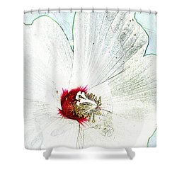 White Wildflower V Shower Curtain by Debbie Portwood