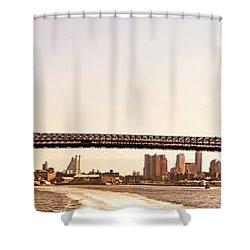 Williamsburg Bridge And The New York City Skyline Panorama Shower Curtain by Vivienne Gucwa