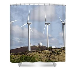 Wind Turbines At The Ascension Shower Curtain by Stocktrek Images