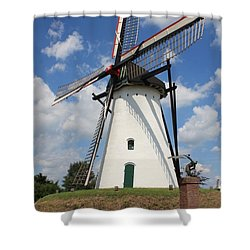 Windmill And Blue Sky Shower Curtain by Carol Groenen