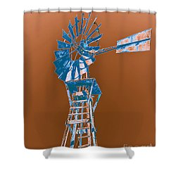 Windmill Blue Shower Curtain by Rebecca Margraf