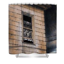 Window In Old House Stormy Sky Shower Curtain by Jill Battaglia