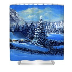 Winter Cabin Shower Curtain by Bonnie Cook