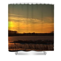 Winter Country Sunset Shower Curtain by Joel Witmeyer
