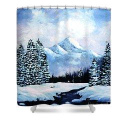 Winter Mountains Shower Curtain by Phyllis Kaltenbach