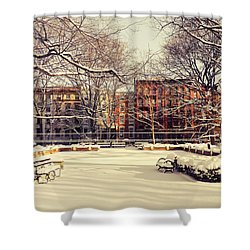 Winter - New York City Shower Curtain by Vivienne Gucwa