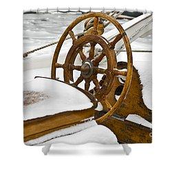 Winter On Board Shower Curtain by Heiko Koehrer-Wagner