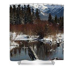 Winter Over Vermilion Lake, Banff Shower Curtain by Michael Interisano