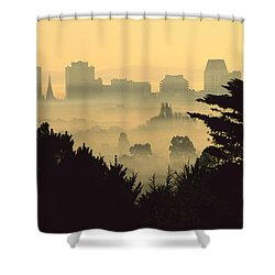 Winter Smog Over The City Shower Curtain by Colin Monteath