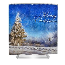 Wintry Christmas Tree Greeting Card Shower Curtain by Lois Bryan