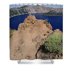 Wizard Island And Lake Shore, Mt Shower Curtain by Gerry Ellis