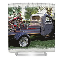 Wizzer Cycle At The Hot Rod Show Shower Curtain by Steve McKinzie