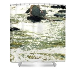Woman Admist A Torrent Shower Curtain by Joana Kruse