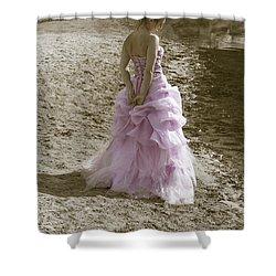 Woman At The Beach Shower Curtain by Joana Kruse