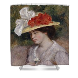 Woman In A Flowered Hat Shower Curtain by Pierre Auguste Renoir