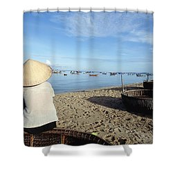 Woman In Conical Hat Sitting On Boat On Shower Curtain by Axiom Photographic