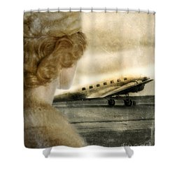 Woman In Fur By A Vintage Airplane Shower Curtain by Jill Battaglia