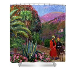 Woman With Child On A Donkey Shower Curtain by William James Glackens