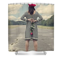 Woman With Red Rose Shower Curtain by Joana Kruse