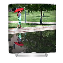 Woman With The Red Umbrella Shower Curtain by Tamyra Ayles