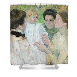Women Admiring A Child Shower Curtain by Mary Stevenson Cassatt