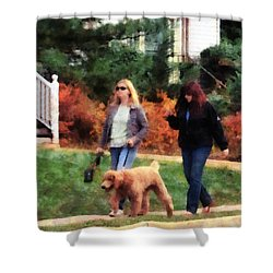 Women Walking A Dog Shower Curtain by Susan Savad