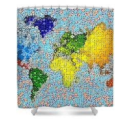 World Map Poker Chips Mosaic Shower Curtain by Paul Van Scott