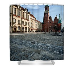Wroclaw Town Hall Shower Curtain by Sebastian Musial